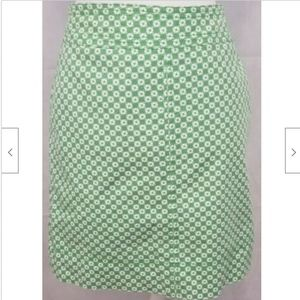 Talbots Womens Skirt 8 Green white pencil stretch